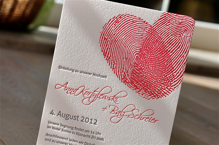 Zaproszenie ślubne Anna I Balz Letterpress